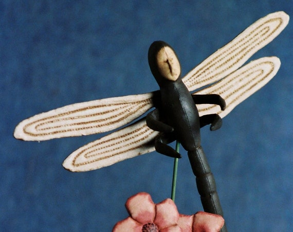 Dragonfly - Cloth Doll E-Pattern - Dragon Fly on Stand epattern