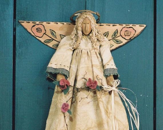 Garden Angel - Cloth Doll E-Pattern - 18in Primitive Victorian Spring Garden Wall Hanging Angel