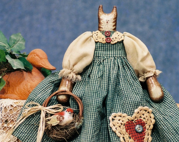 "Bethany - Collectible Doll Handmade Original Prototype Folk Art 17"" Cat Doll"