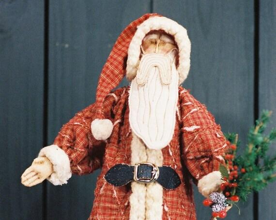 Tattered Santa - Cloth Doll E-Pattern  15in Free Standing Santa Stump Doll
