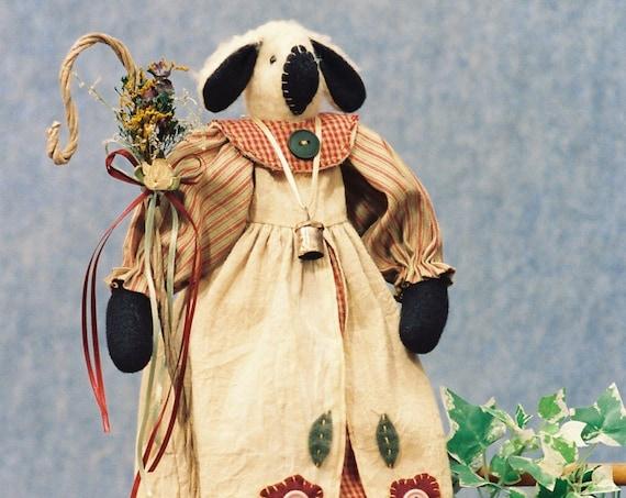 Little Baa Peep - Mailed Cloth Doll Pattern - 17in Lamb Sheep Shepherd Doll