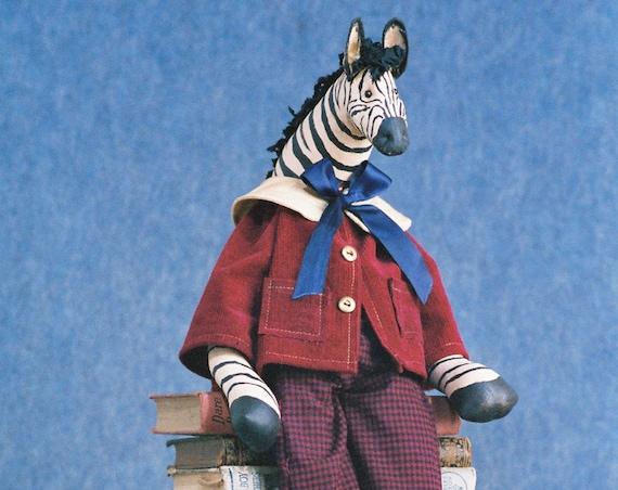 Zachary - Mailed Cloth Doll Pattern - 25 inch Boy Zebra Doll