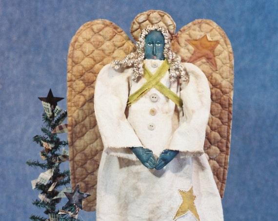 Angela - Mailed Cloth Doll Pattern 24in Black Folk Art Primitive Angel