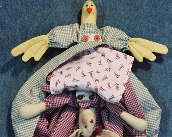 Bunny Chick Topsy Turvy - Mailed Cloth Doll Pattern -Bunny Rabbit and Chick topsy turvy doll