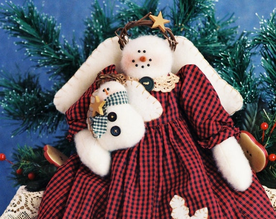 Snowflake and Little Flurry - Mailed Cloth Doll Pattern Holiday Snow Angel with Baby