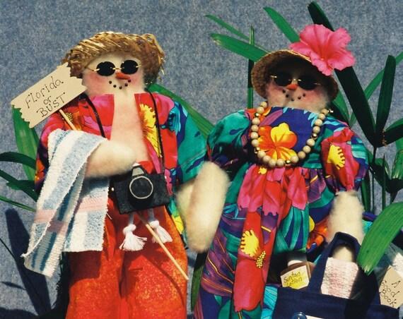 The Snow Birds- Mailed Cloth Doll Pattern Comical Beach Tourist Snowman Couple