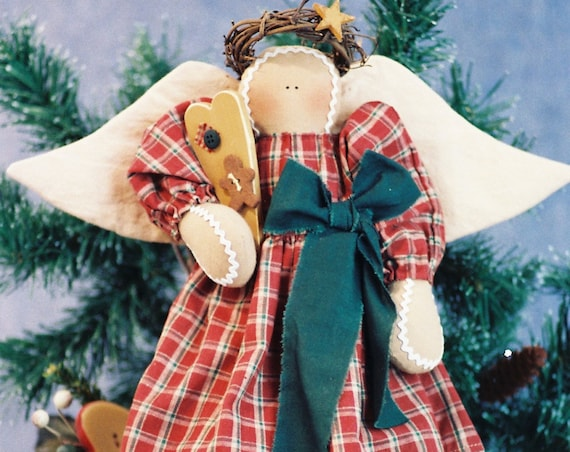 Sweet As an Angel - Cloth Doll E-Pattern  16in Gingerbread Christmas Holiday Country Angel Doll