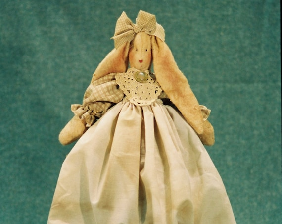 Joanna - Cloth Doll E-Pattern  Pretty Country Bunny Rabbit Shelf Sitting Doll