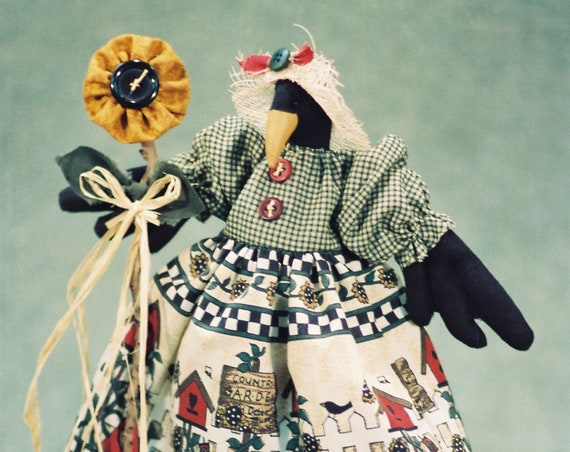 Sunshine - Mailed Cloth Doll Pattern  12in Country Girl Crow Bird Doll