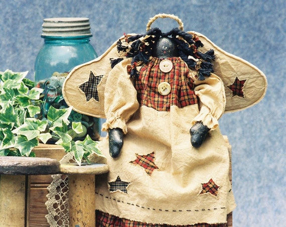 Precious - Mailed Cloth Doll Pattern  18in Folk Art Black Angel
