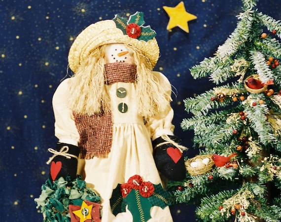 Holly - Mailed Cloth Doll Pattern- 21in Cute Holiday Snowgirl