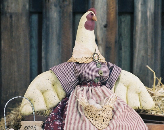 Ruffled Feathers - Cloth Doll E-Pattern - 26 inch Country chicken Hen Bird epattern