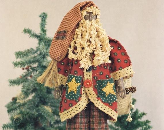 Pere Noel - Mailed Cloth Doll Pattern  24in Black Folk Art Santa