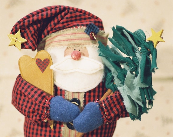 Lil Nick - Mailed Cloth Doll Pattern - Small Christmas Santa Doll