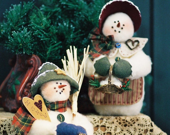 Mr and Mrs I Love Snow - Cloth Doll E-Pattern 10in Mr & Mrs Snowman Epattern