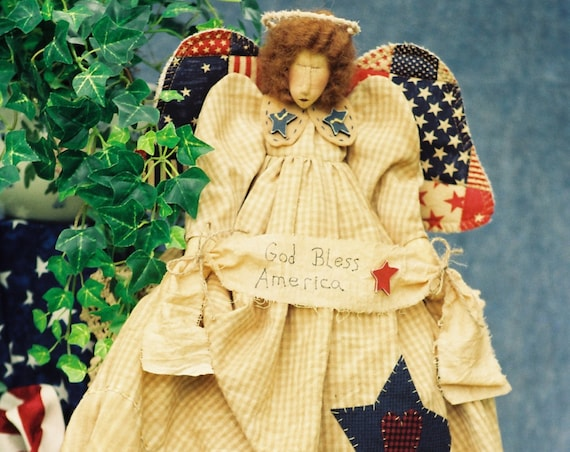 God Bless America - Mailed Cloth Doll Pattern  24in Patriotic 4th of July Primitive Folkart Independence Day Angel
