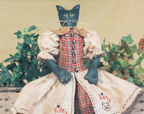 Kitty - Mailed Cloth Doll Pattern - 23in Primitive-Folkart Black Girl Halloween Cat