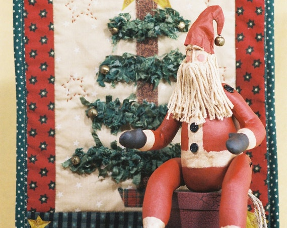 Belsnickle - Mailed Cloth Doll Pattern - 15in Christmas Primitive Santa & Quilt Display