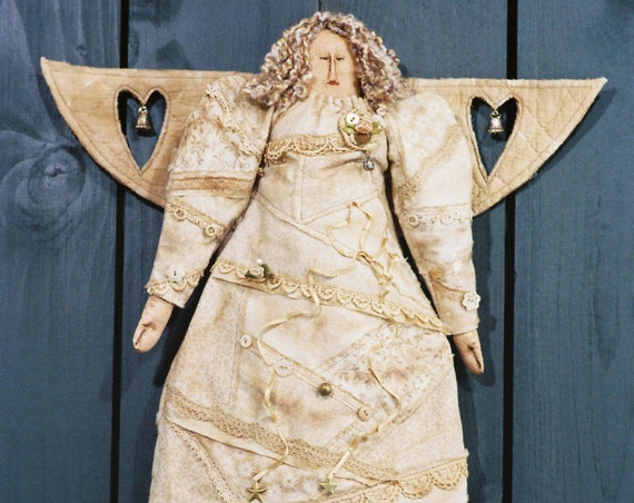 When an Angel Gets Her Wings - Cloth Doll E-Pattern - Victorian Faux Crazy Quilt Christmas Angel