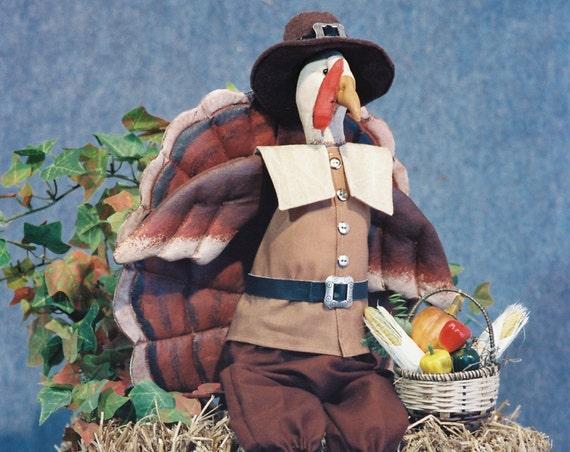 Elmer - Mailed Cloth Doll Pattern - Dressed Thanksgiving Pilgrim Turkey Bird