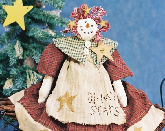 Oh My Stars - Mailed Cloth Doll Pattern 19in Country Primitive Christmas Snowgirl