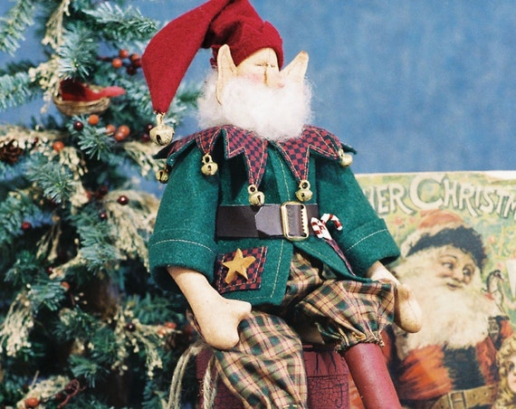 Jingles - Mailed Cloth Doll Pattern- 18in Cute Christmas Elf
