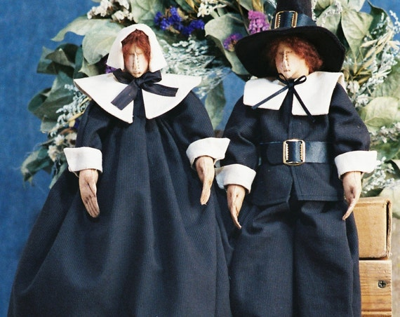 The Pilgrims - Cloth Doll Mailed Pattern Traditional Thanksgiving Pilgrim Couple