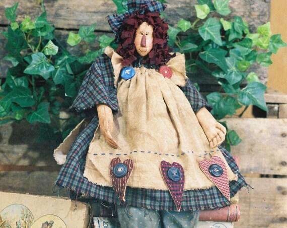 Anna - Mailed Cloth Doll Pattern - 19in Raggedy Ann Doll