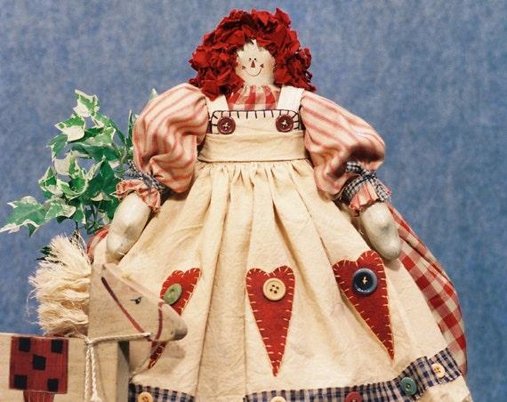 Annie - Mailed Cloth Doll Pattern - 23in Raggedy Ann Doll