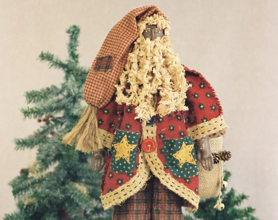 Pere Noel - Cloth Doll E-Pattern  24in Black Primitive Folk Art Santa E-pattern
