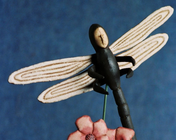 Dragonfly - Mailed Cloth Doll Pattern - Dragon Fly Bug Doll on Stand