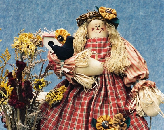 Sunflower - Mailed Cloth Doll Pattern Country girl Scarecrow