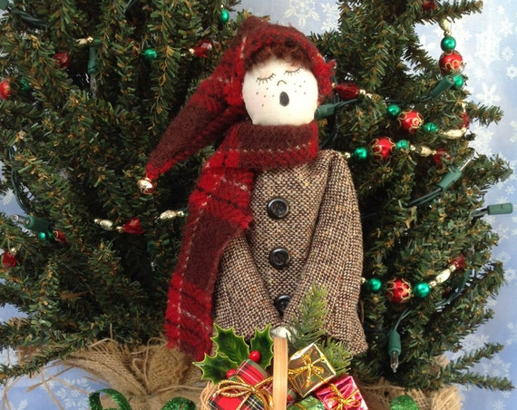 Little Boy Caroler - Mailed Cloth Doll Pattern 12 inch Victorian Christmas Caroler Boy