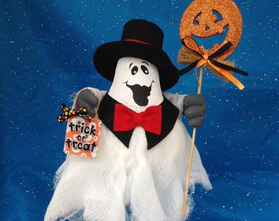 Humphrey Boo-gart - Mailed Cloth Doll Pattern Formal Top Hat & Tie Halloween Ghost