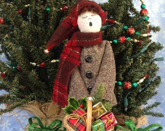 Little Boy Caroler - Cloth Doll E-Pattern 12in Victorian Christmas Caroler Boy Free Standing Stump Doll