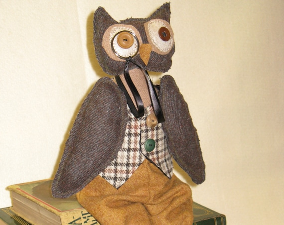 Professor Hootie - Mailed Cloth Doll Pattern 16 in Primitive Wise Old Professor Owl pattern