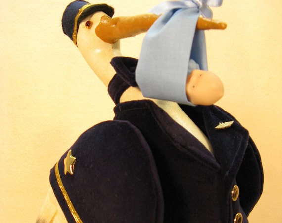 OOAKDoll Special Delivery Collectible Doll Airline Pilot Baby Delivery Stork