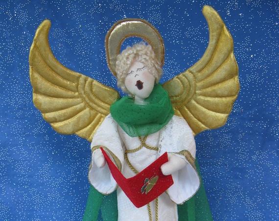 Hark the Herald Angel - Cloth Doll E-Pattern 19inch Christmas Caroling Angel Free Standing Stump Doll