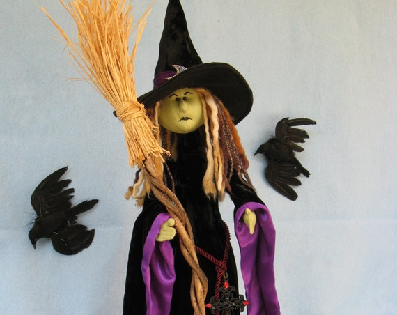 Luna - Cloth Doll E-Pattern  A Beautiful yet Scary Halloween Witch Free Standing Stump Doll