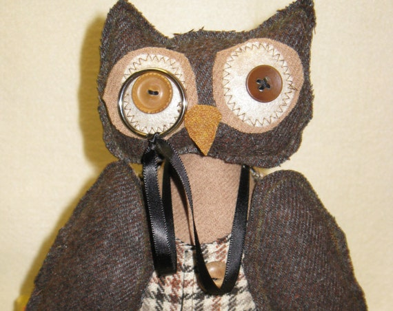 Professr Hootie - Cloth Doll E-Pattern 16 in Wise Old Professor Primitive Owl Epattern