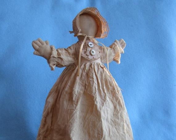 Hannah Prairie Doll - Mailed Cloth Doll Pattern 14 in Primitive Rustic Prairie Doll