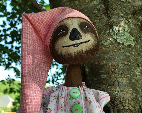 "Sleepy Sloth Mailed Cloth Doll Pattern Girl or Boy Sloth Wearing Pajamas 18"" Tall"