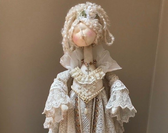 OOAK Handmade Renaissance Free Standing Art Doll in Vintage Lace