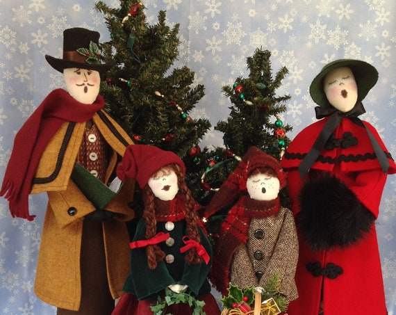 OOAK Handmade Victorian Christmas Caroler Doll Group