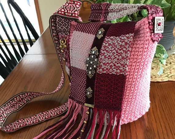 Handmade Pink and Burgundy Crocheted Bucket Bag, Bohemian, Boho, Hobo, Hippie, Over the Shoulder or Crossbody Purse with Beaded Fringe