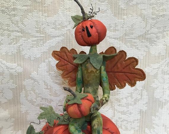 The Pumpkin Keeper Mailed Cloth Art Doll Halloween Pattern