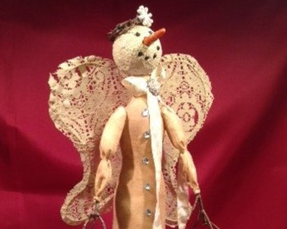 "Iclynn - Cloth Doll E-Pattern 18"" Lace Primitive Snowman Girl Free Standing Stump doll"