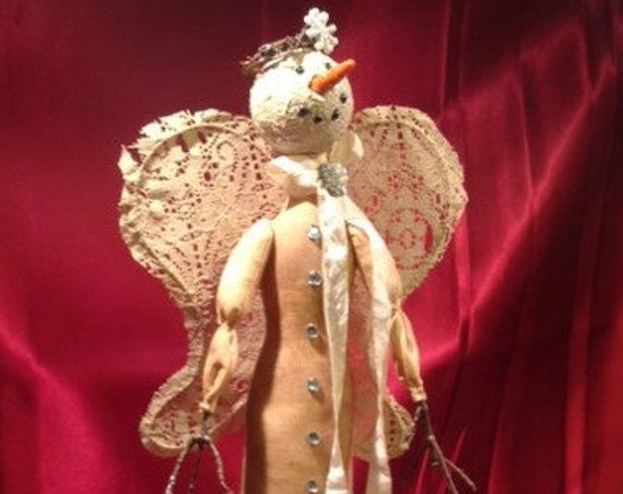 "Iclynn - Mailed Cloth Doll Pattern 18"" tall  Lace Snow Girl Angel Free Standing Stump Doll pattern"