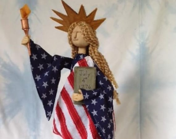 Miss Liberty - Mailed Cloth Doll Pattern Americana Statue of Liberty 4th of July Art Doll