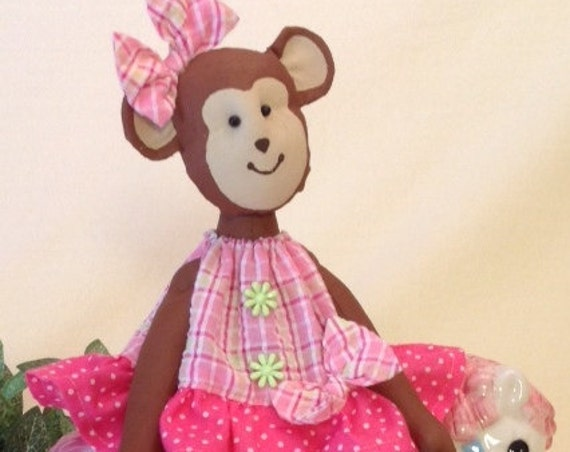 Baby Monkey - Cloth Doll E-Pattern Pretty Little Baby Girl Monkey sewing pattern